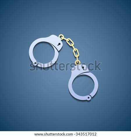 Icon handcuffs. Flat graphic. Stock vector illustration. - stock vector