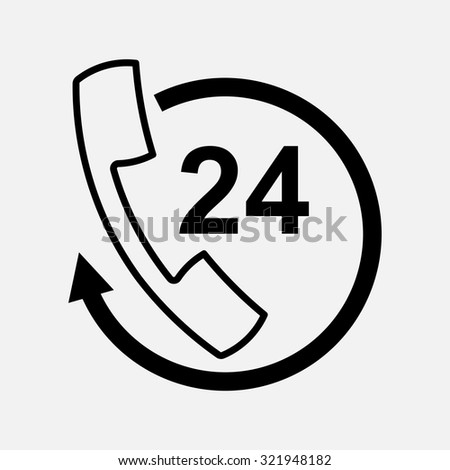 icon handset support, communication 24 hours, fully editable vector image - stock vector