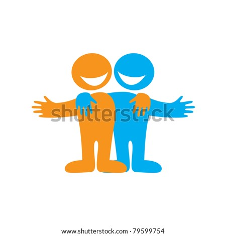 Icon Happy friends. Symbol of friendship. Vector sign. - stock vector