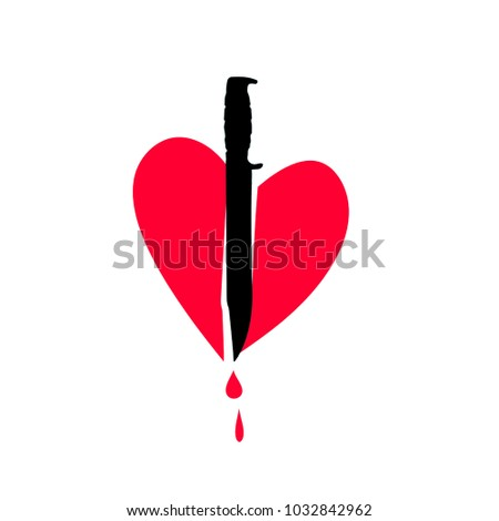 Icon Heart Knife Heart Metaphor Unrequited Stock Vector 1032842962