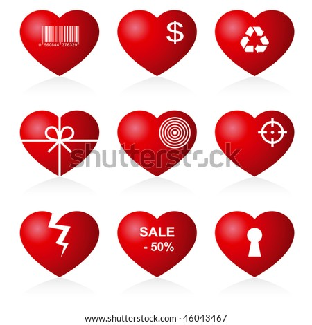 Icon hearts on white background. - stock vector