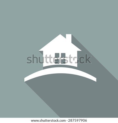 Icon house Icon with a long shadow - stock vector