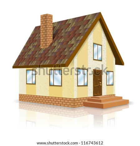 Icon House - Real Estate Concept in Perspective, isolated on white background, vector illustration