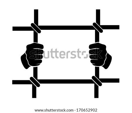 icon human hands behind bars - stock vector