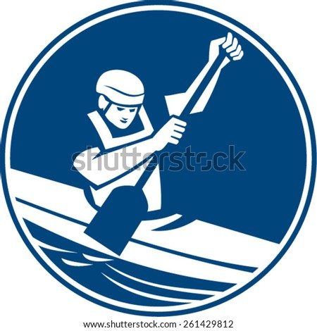 Icon illustration of a man in a canoe kayak with paddle canoeing slaloming viewed from front set inside circle on isolated background done in retro style. - stock vector