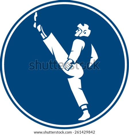 Icon illustration of a man in taekwondo fighter kicking stance viewed from side set inside circle on isolated background done in retro style. - stock vector