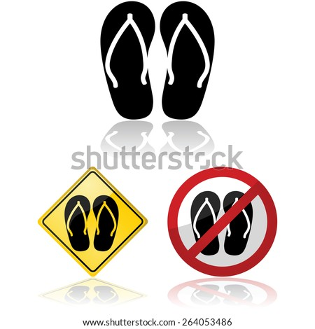 Icon illustration showing a pair of sandals, or flip flops, and related traffic signs allowing or prohibiting their use - stock vector