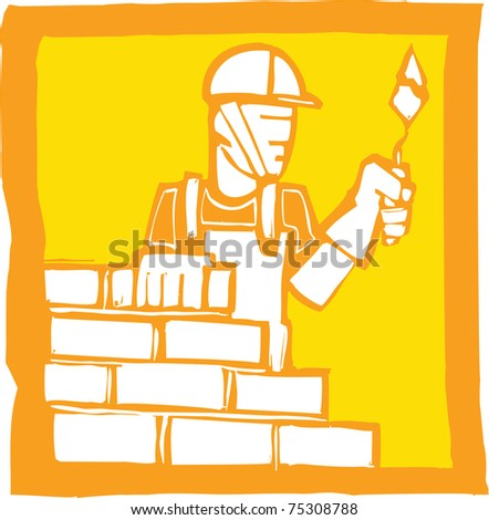Icon in a woodcut style of a mason laying bricks