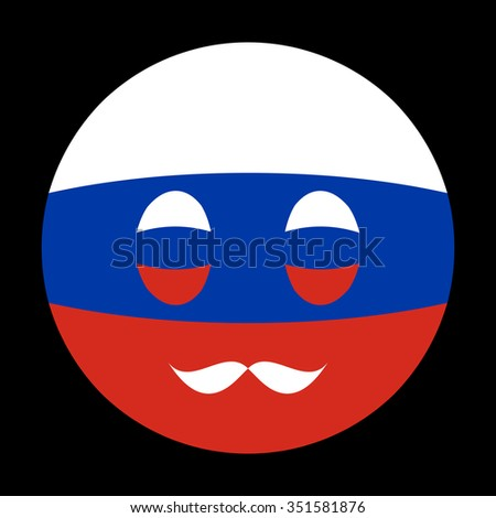 Icon in colors of Russian flag with mustaches in globe form on black background - stock vector