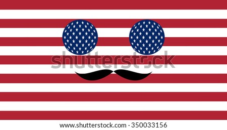 Icon in colors of the American flag with mustaches - stock vector