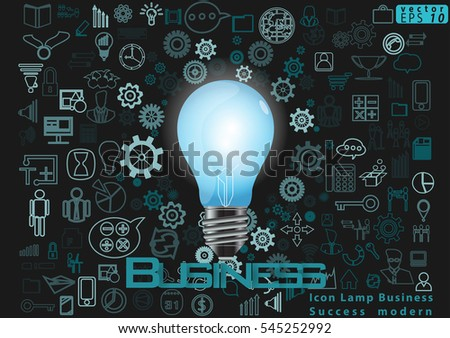 Icon Lamp Business Success modern design Idea and Concept Vector illustration with Text Business,Icon.