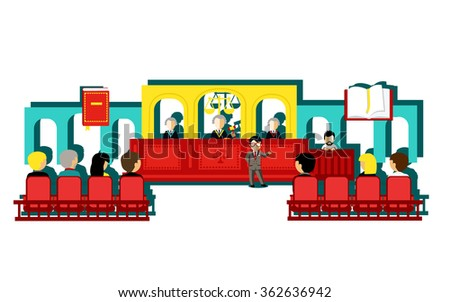 Icon law and people design concept. Justice and lawyer, legal and crime, judge and criminal, court and freedom, attorney and balance, decision and protection illustration - stock vector