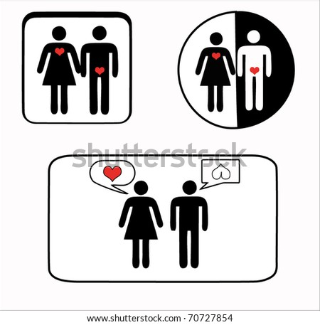 icon man and woman - stock vector