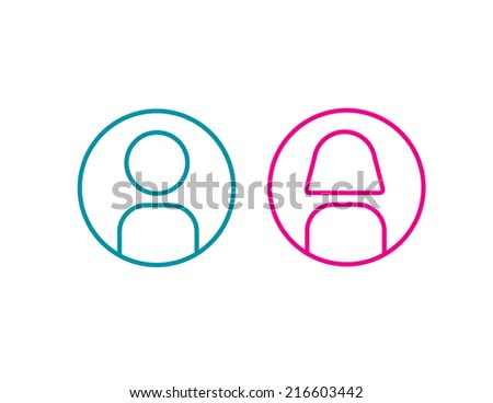 icon man and woman simple line vector illustration wc - stock vector