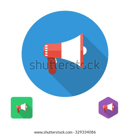 icon megaphone. vector illustration in the flat style design element for web and mobile applications - stock vector