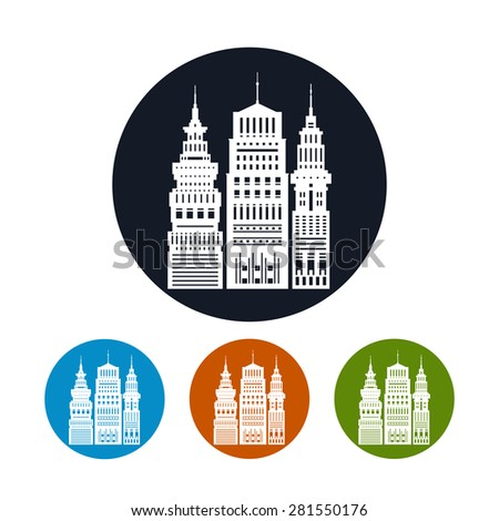 Icon Modern Big City with Buildings and Skyscraper,the Four Types of Colorful Round Icons  Architecture Megapolis,Icon City Financial Center  , Vector Illustration - stock vector