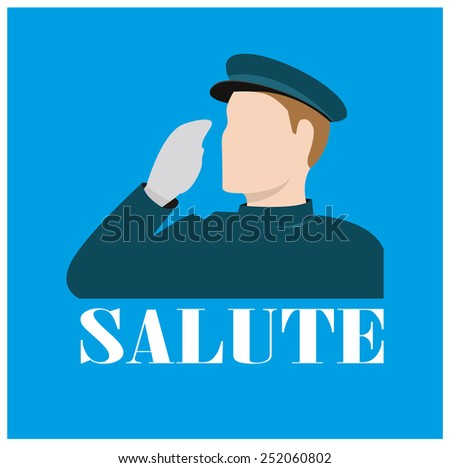 Icon of a forces personal saluting   - stock vector