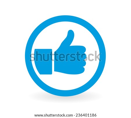 Icon of a hand giving thumbs up in blue and white - Abstract vector image easy to change color.