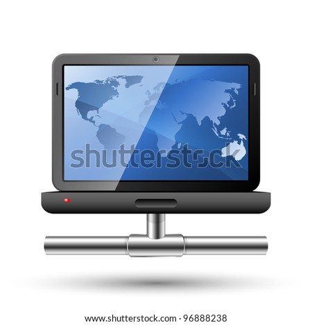 Icon of a laptop with a network connection. Vector Illustration - stock vector