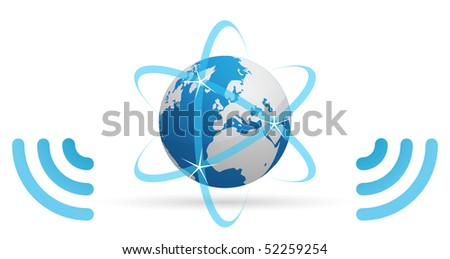 Icon of a planet, transmitting Internet, through blue waves - stock vector