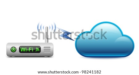 Icon of a wireless router connected to a cloud.  Vector Illustration - stock vector