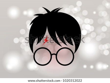 icon of a wizard boy with glasses, minimal Potter style, vector isolated or Blurry background circles