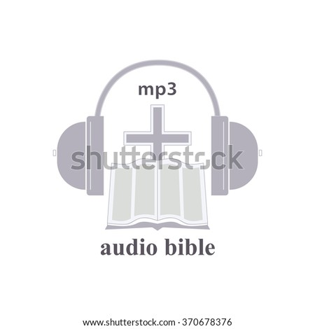Icon of audio the Bible. A religious trade mark. The cross, the bible, headphones symbolize listening the bible, through headphones. - stock vector