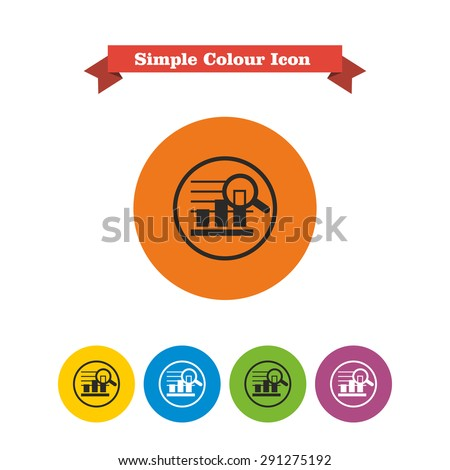 Icon of bar chart in circle magnified with magnifying glass - stock vector