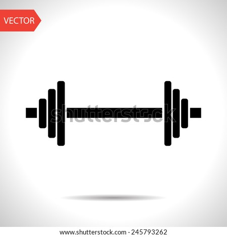 icon of barbell - stock vector