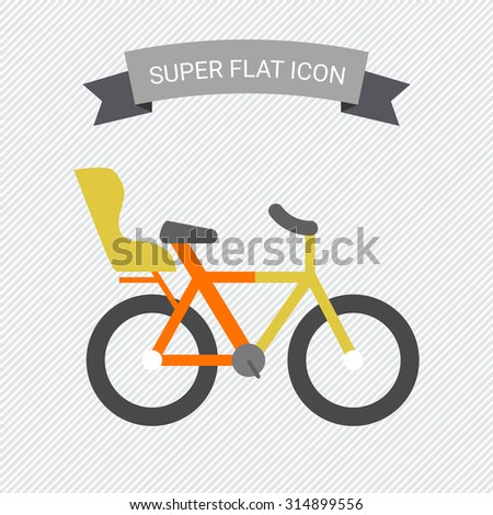 Icon of bicycle with child seat - stock vector