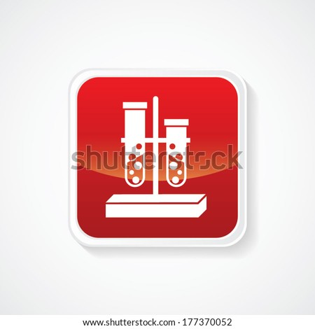 Icon of Biochemistry and microbiology equipment. Test tube on Red Glossy Button. Eps-10. - stock vector