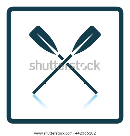 Icon of  boat oars. Shadow reflection design. Vector illustration. - stock vector
