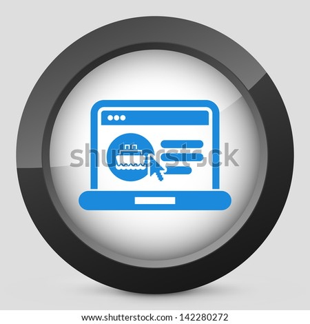Icon of booking boat ticket on web agency - stock vector