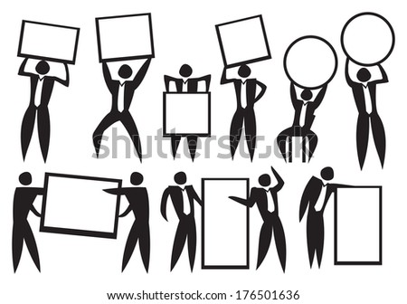 Icon of Business man carrying empty placard. Vector illustration.