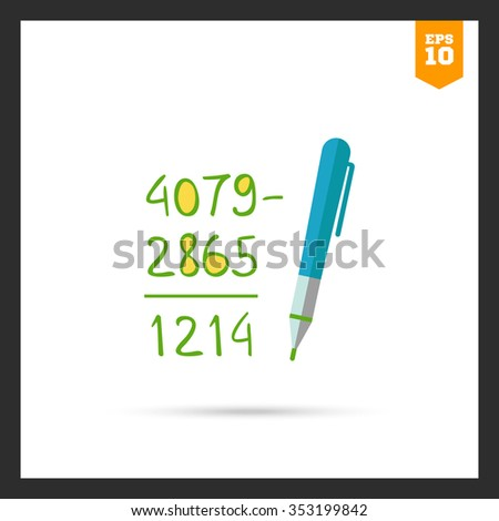 Icon of calculation process with written figures and pen