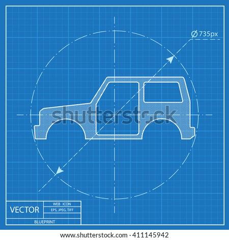 Icon car body blueprint style vector de stock411145942 shutterstock icon of car body blueprint style malvernweather Choice Image