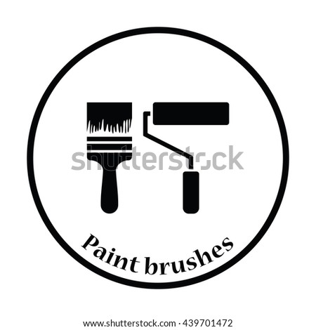 Icon of construction paint brushes. Thin circle design. Vector illustration. - stock vector