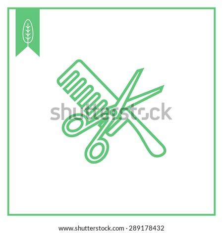 icon crossed scissors comb stock photo photo vector illustration rh shutterstock com Crossed Scissors Comb Logo