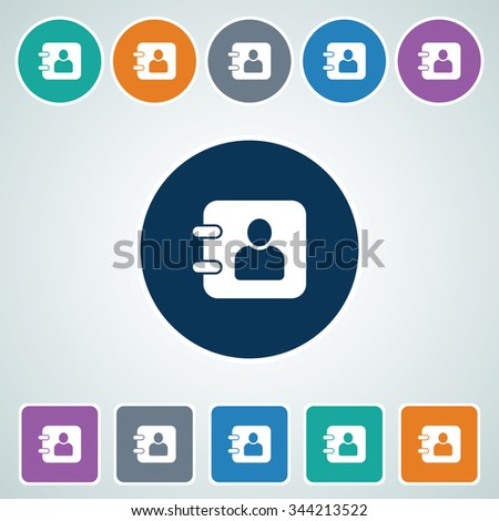 Icon of Diary in Multi Color Circle & Square Shape. Eps-10. - stock vector