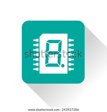 icon of digital microchip - stock vector