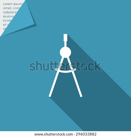 Icon of drawing compasses in circle - stock vector