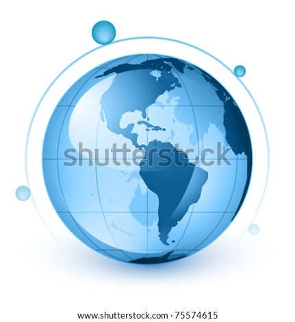 Icon of Earth on a white background The base map is from https://zulu.ssc.nasa.gov/mrsid/ 1 layer of data used for the detailed outline of the land - stock vector