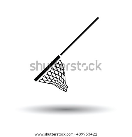 Icon of Fishing net . White background with shadow design. Vector illustration.