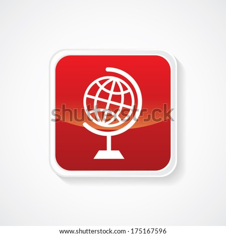 Icon of Globe on Red Glossy Button. Eps-10 - stock vector