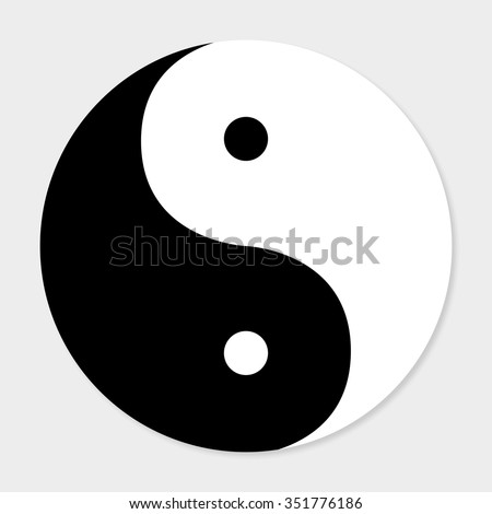 Icon of good and evil yin  yang with shadow - stock vector