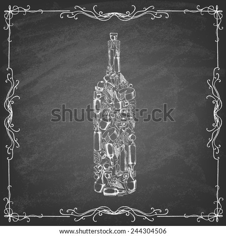 Icon of grape wine on the blackboard . Different kinds of wine bottles without labels. Collection of hand-drawn bottles and food. Retro vintage style food design. Vector illustration. - stock vector