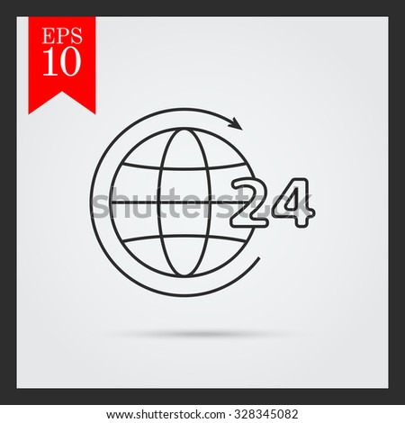 Icon of 24-hour worldwide service concept, Earth globe with circle arrow and 24-hour sign - stock vector