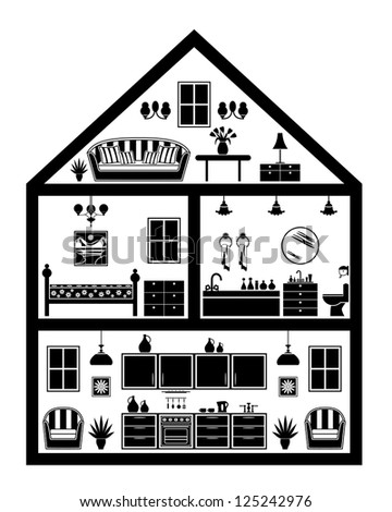 Icon of house with planning. vector - stock vector