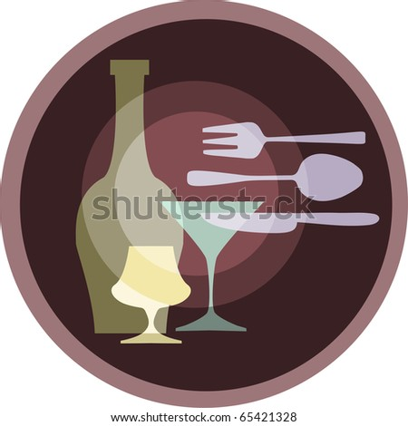 icon of kitchen silverware. glasses and forks on retro background - stock vector