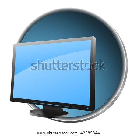 Icon of LCD monitor. Vector illustration.